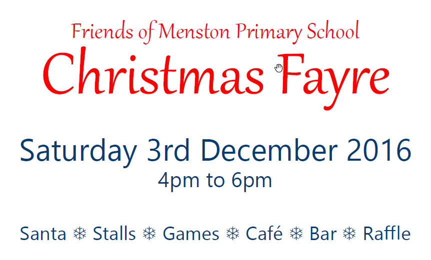 FoMPS Christmas Fayre – Saturday 3rd December 2016